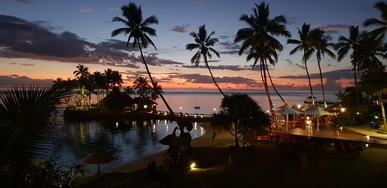 Pretty resort decor meets lovely sunset