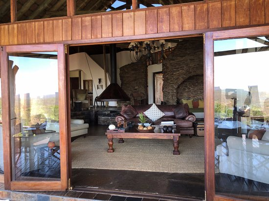 Looking into the comfy couches in the main lodge.