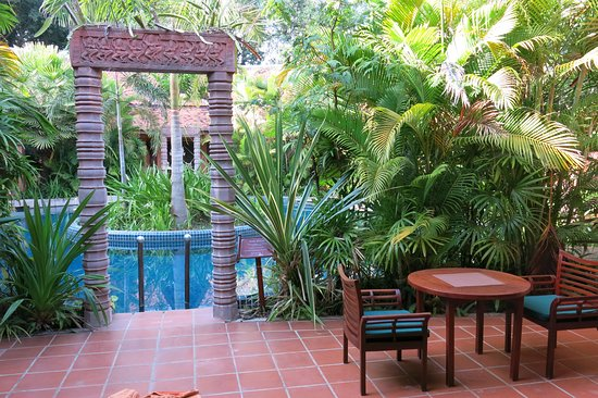 The patio and private swimming pool