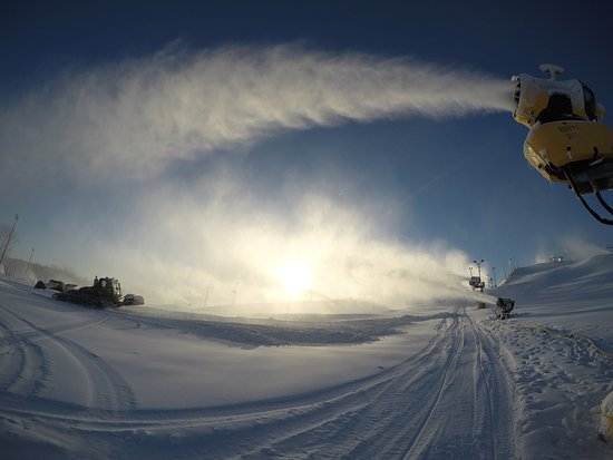 Morning snowmaking and grooming.