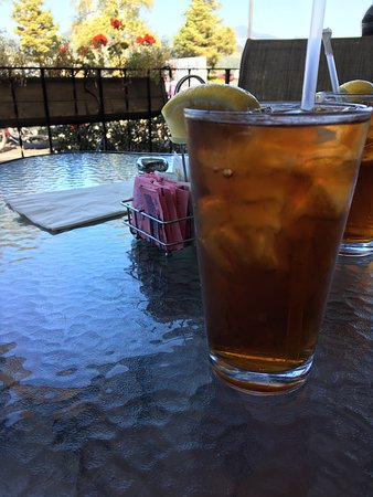 The Point Restaurant: Porch table with Iced Tea