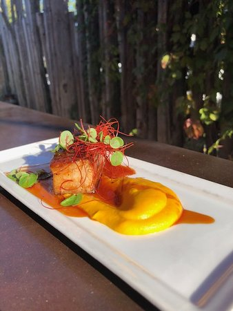 Sconni's Alehouse & Eatery: Sous-vide pork belly with butternut squash puree, maple glaze. chili threads and micro greens.