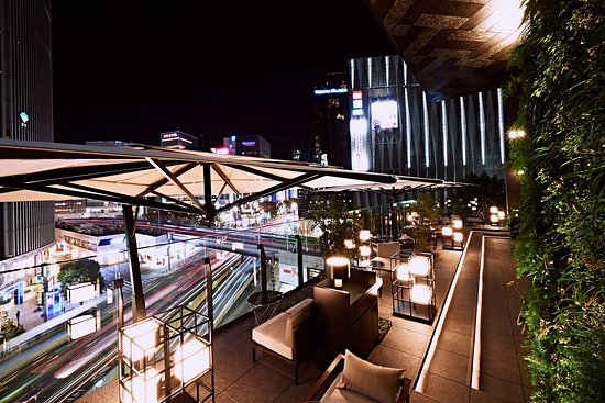 Lobby terrace at night time