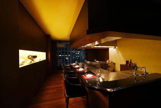 """Teppanyaki """"Yasuma"""" on 13th floor. Small and cozy teppanyaki restaurant for our guest."""