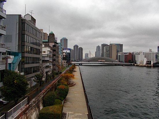 Eitai Bridge: 隅田川大橋の上から眺めた工事中の永代橋