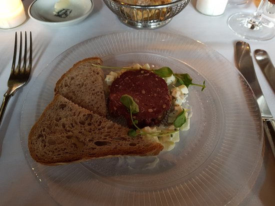 The Witchery by the Castle: Festive menu - Venison Tartar With a salami disc on top of the tartar. Sorry, I took a bit before taking the pic :-)