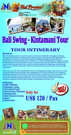 Info detail, please visit our site : https://www.nurbalitravel.com/2018/11/bali-swing-kintamani-package-tour.html