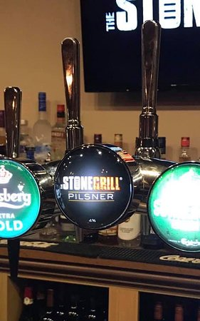 Stone Grill Pilsner Lager. Brewed for us by Carlsberg UK, available now here at The Stone Grill.