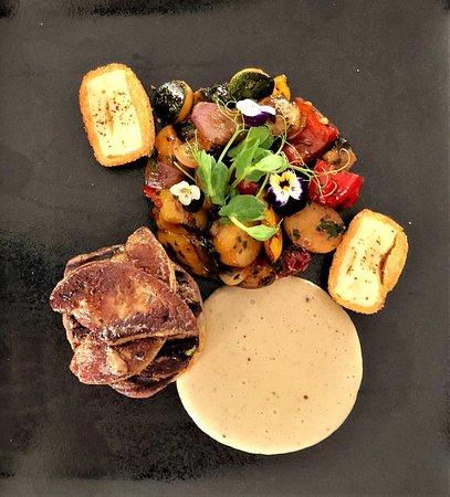 Tournedo rossini a la chef - aged Angus tenderloin foie gras, new potatoes and vegetables