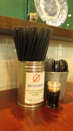 Little Penang Cafe: Nice to know they are trying to reduce the use of straws