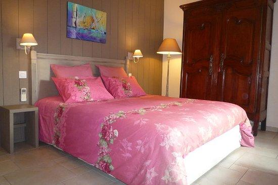 L'une des chambres au décor romantique, calme et confortable. Salle de bain privée, wc privé séparé, wifi, climatisation, 3è personne possible.