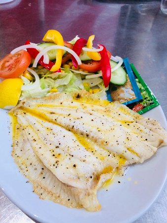 Gary's Fish & Chip Restaurant and Takeaway Clacton: Grilled Plaice with butter and black pepper for a hearty healthy option with salad or half and half salad and chips.