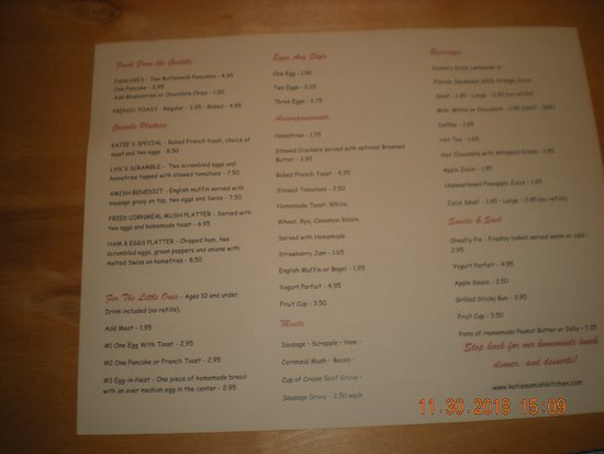 Katie's Kitchen: Menu