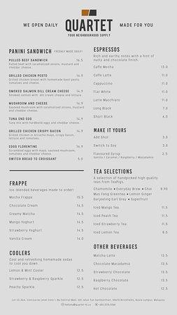Our latest menu!