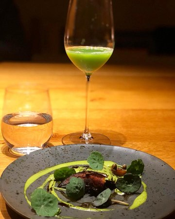 green kokkaido, Indian cress, pistachio and black trumpets