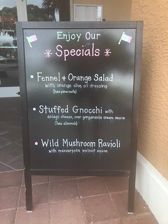 Specials displayed at the entrance.
