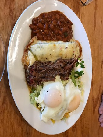 The New Mexicans: Christmas tree enchilada with eggs and beans.