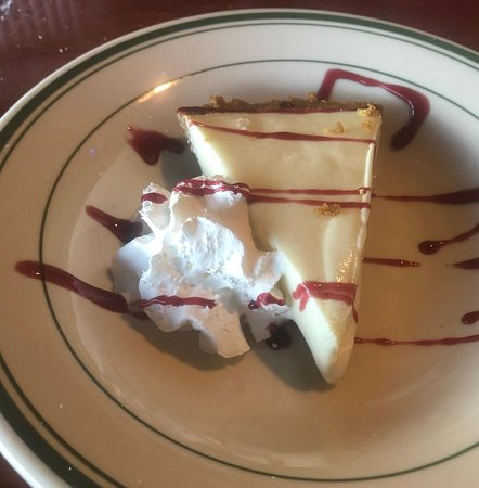 San Leon, TX: Top Water's take on Key Lime Pie with raspberry drizzle and whipped cream.
