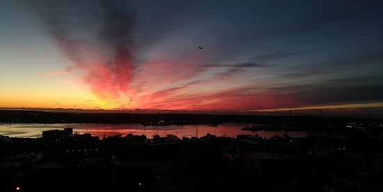 Sunrise over the bay from Room 822 December 13, 2018