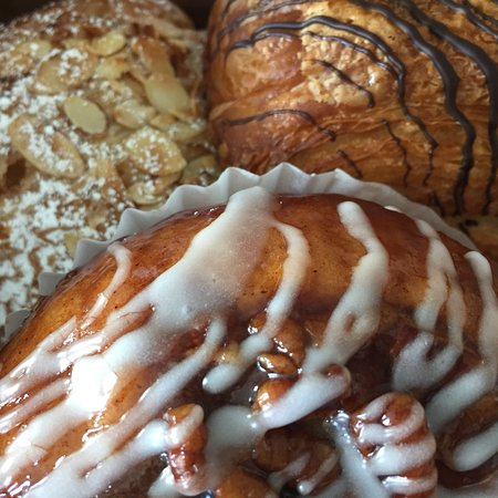 The Cafe: Almond Croissant, Chocolate Croissant, Pecan Roll