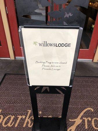 Fireside Lounge : Sign at Barking Frog
