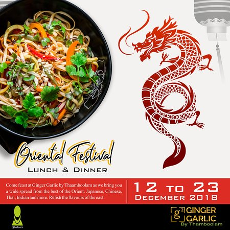 When you think of Oriental cuisine, the images that dance in your minds, are that of fire breathing dragons, Huge Chinese woks tossing hot chunks of colorful veggies in sauces or spicy chicken with noodles.. or maybe even kwaithyo ....the plethora of such smells and tastes goes on. Ginger Garlic - G2 by Thaamboolam understands your temptation to Oriental cuisine and is now offering you all your desires on a mouthwatering tempting Oriental platter. So let your imagination take flight .