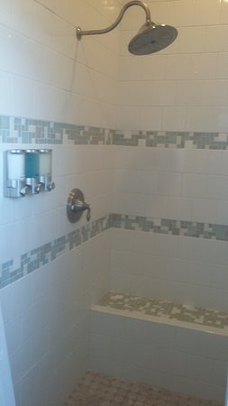 Kittitas, WA: The fully tiled shower complete with bench and soap dispenser in the Nostalgic Suite.