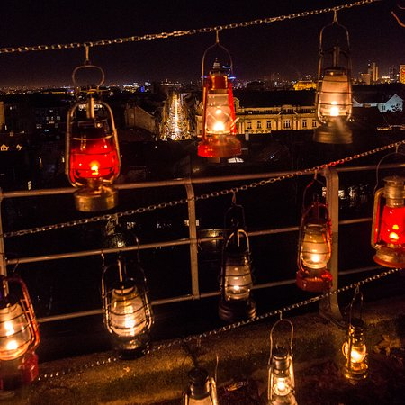 Upper Town (Gornji Grad): Lanterns and view of the lower part of the city.