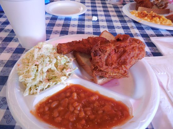 Gus's World Famous Fried Chicken: White meat chicken (leg and wing) combo