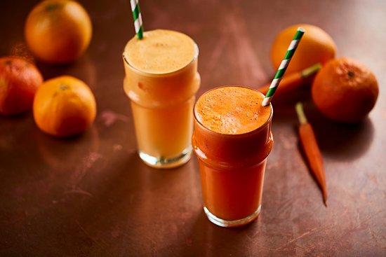 Fresh mandarin and Fresh orange carrot juice