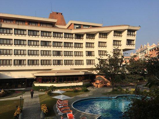 Beautiful hotel garden of Yak and Yeti