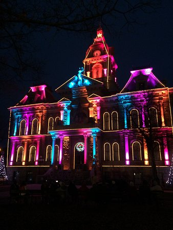 The Christmas light show at Guernsey Co. Courthouse