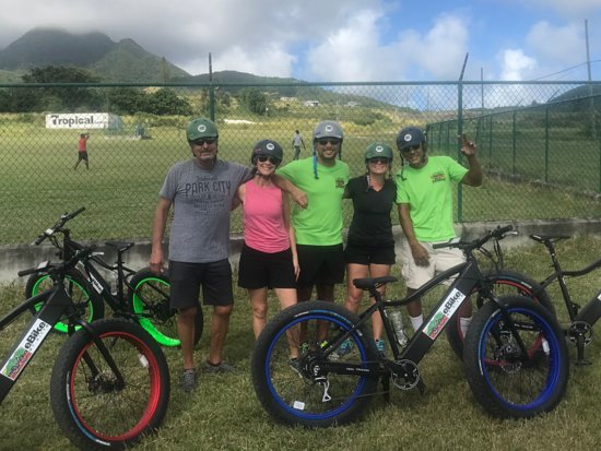 eBike St. Kitts: Part of our group with Stephan and Antonio