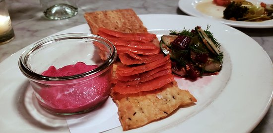 The Small Plates are fun, this one Salmon, Pickles, Beet Hummus.