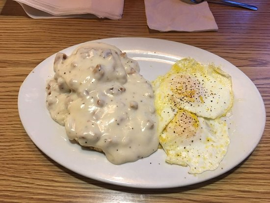 Sausage gravy biscuit and eggs at Jimmy's Oven & Grill