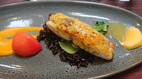 entree- barramundi with saffron farce and black rice