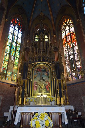stained glass and beautiful altar