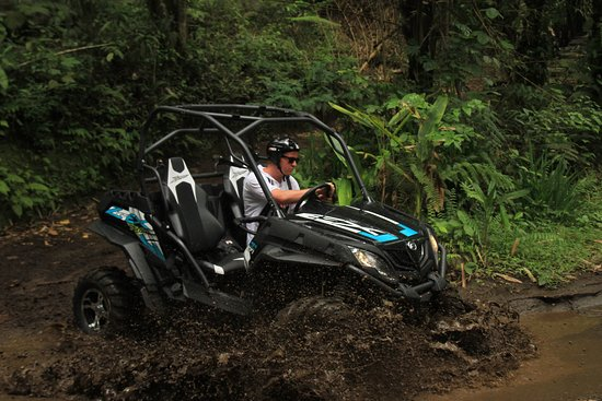 Payangan, Indonesia: Testing one of our new 4x4 ZForce buggies on the training track before the tour