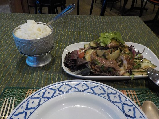 warm beef salad with rice