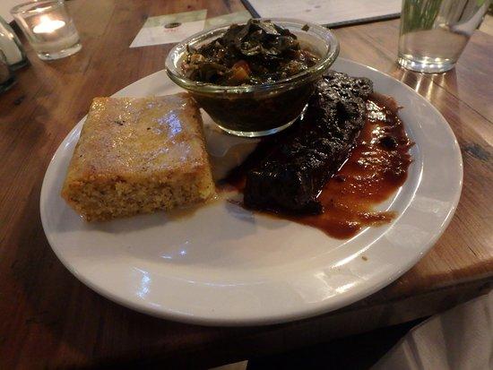 soulfood platter with rib, collard green and cornbread