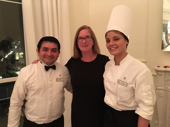 Finest Playa Mujeres: with waiter Roger and Chef Stefany at Le Petit Plaisir