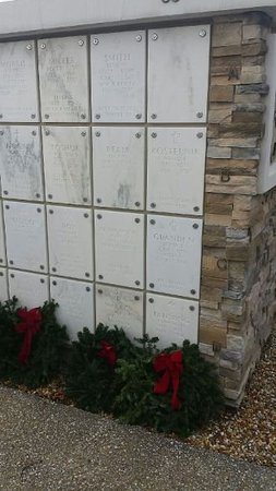 We helped lay wreaths at the other graves in the columbarium.
