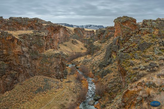Succor Creek Canyon 2018 A highly detailed look at the Succor Creek Canyon in Jordan Valley Oregon. The mountains in the background show the snow fall for December 2018.  This is a vertigo challenged feel after climbing to the top and looking down.