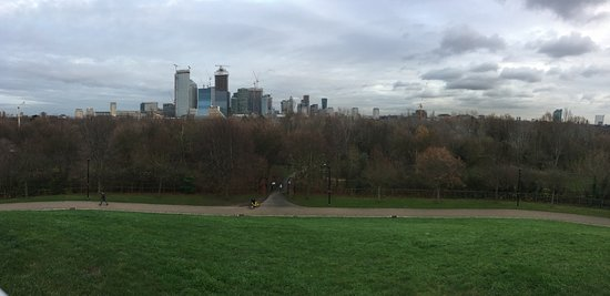 Stave Hill Ecological Park: View of Canary Wharf from top of Stave Hill - December 2018