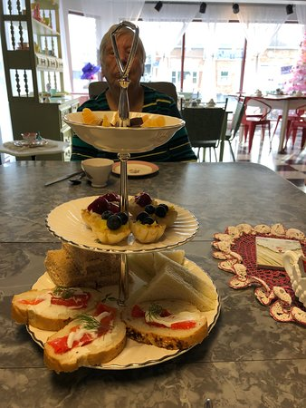 Red Squirrel Tea Room: sandwiches and desserts served on tiered plate