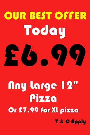 Collection Offer Large pizza£6.99