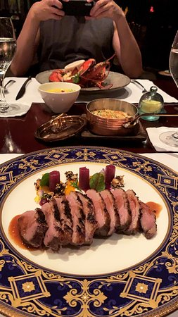 Duck breast main (lobster main in the background)