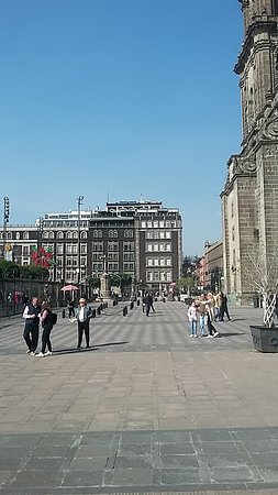Looking back at the Zocalo from the front door of the Metroplitan Church.  That's how close the hotel is to main square.