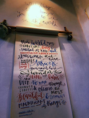 Blue Bike Cafe: Scroll with quote
