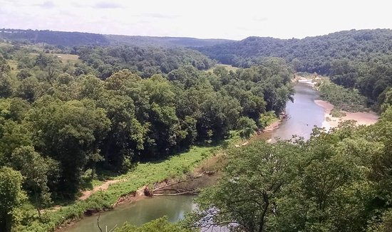 Camp Tomahawk Two-Mile Tube Float, James River near Galena, MO, aerial view